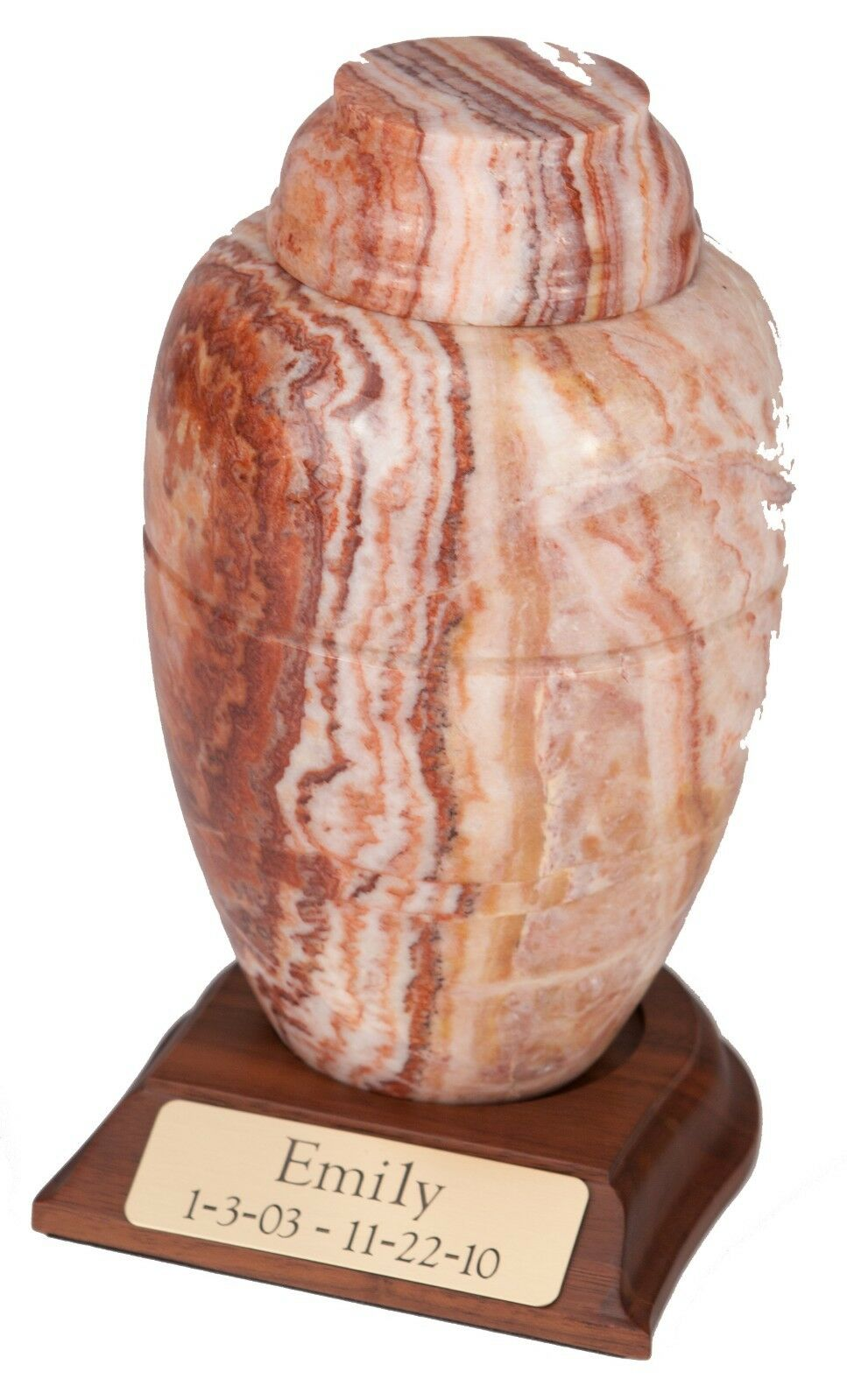 Large 168 Cubic Inches Caramel Marble Vase Urn for Ashes with Engravable Base