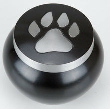 Load image into Gallery viewer, 30 Cubic Inches Nickel/Gray Aluminum Pawprint Pet Jar Urn for Cremation Ashes
