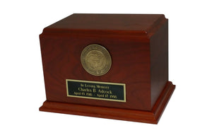 Large/Adult Walnut 200 Cubic Inch Funeral Cremation Urn for Ashes - Navy