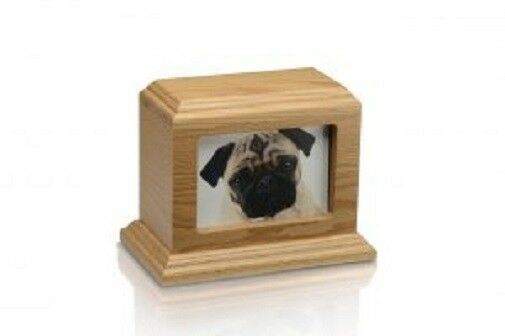 Small/Keepsake 50 Cubic Inch Photo Frame Wood Pet Cremation Urn - Oak