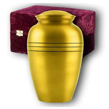 Load image into Gallery viewer, Adult Gold Colored, Brass Funeral Cremation Urn w. Box, Assorted Sizes Available