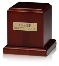 Load image into Gallery viewer, Small/Keepsake 70 Cubic Inch Cherry Birch Wood Cube Funeral Cremation Urn