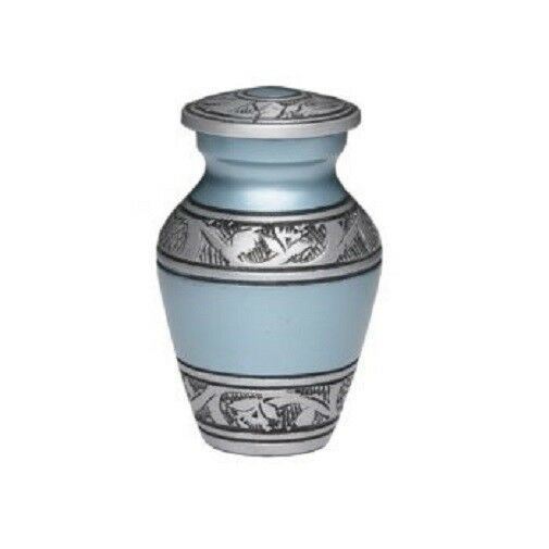 Small/Keepsake 3 Cubic Inch Teal Alloy Funeral Cremation Urn for Ashes