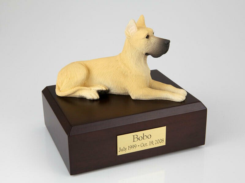 Great Dane, Fawn Pet Funeral Cremation Urn Available in 3 Diff Colors 4 Sizes