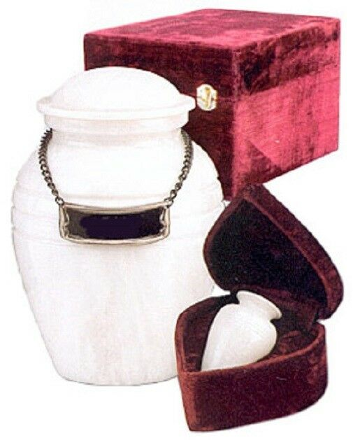 Set of Medium (44 cubic inch) & Keepsake(3 in) Marble Cremation Urns w/nameplate