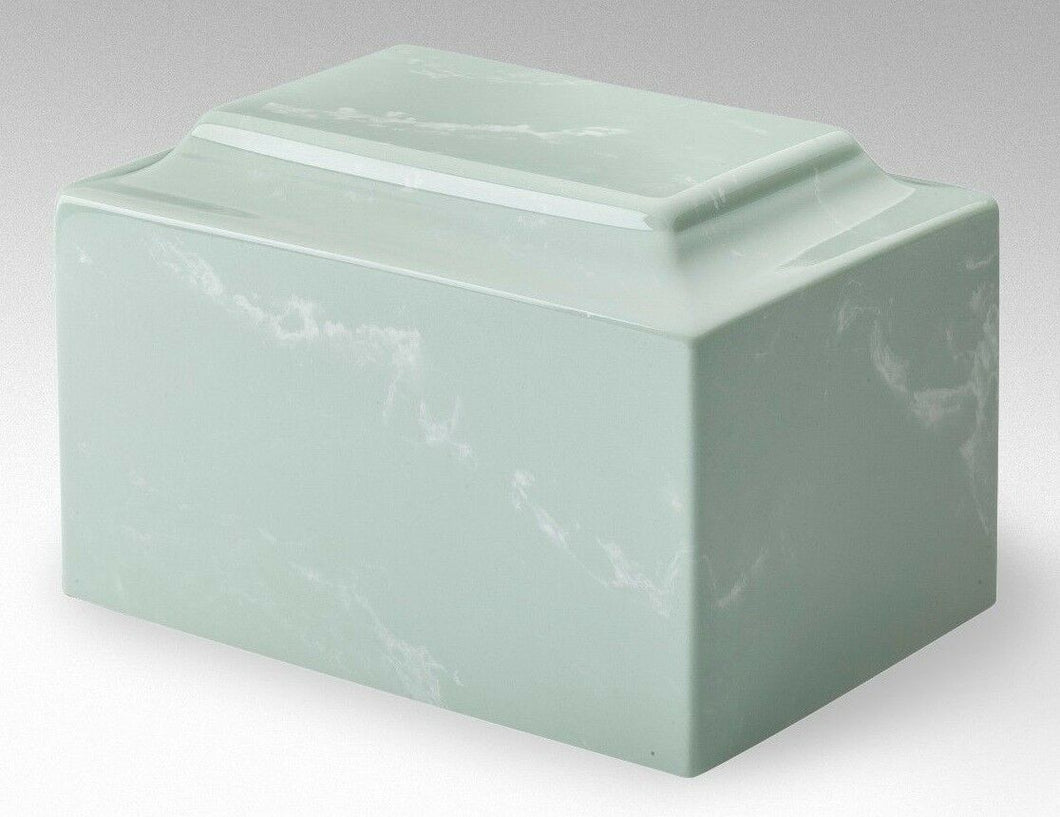 Classic Cultured Marble Light-Green 25 Cubic Inches Cremation Urn, TSA Approved