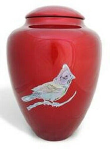 Large/Adult 200 Cubic Inch Fiber Glass Shell Art Cardinal Funeral Cremation Urn