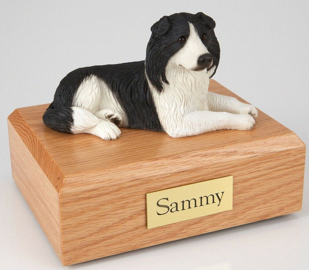 Border Collie Pet Funeral Cremation Urn Avail in 3 Different Colors & 4 Sizes