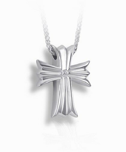 Sterling Silver Moline Cross Funeral Cremation Urn Pendant for Ashes with Chain