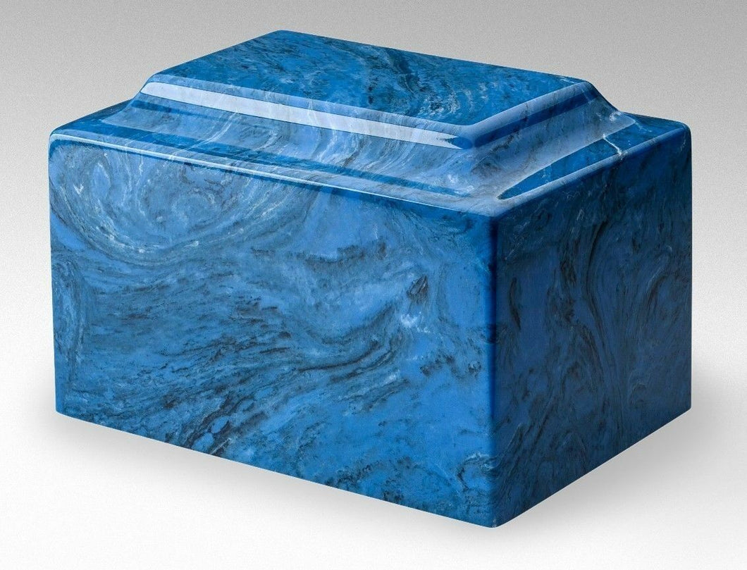 Small/Keepsake Marble Blue 5 Cubic Inch Funeral Cremation Urn Ashes TSA Approved