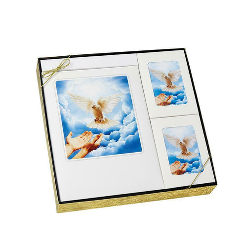 Dove Theme Stationery Box Set & 200 Cubic Inch Funeral Cremation Urn for Ashes