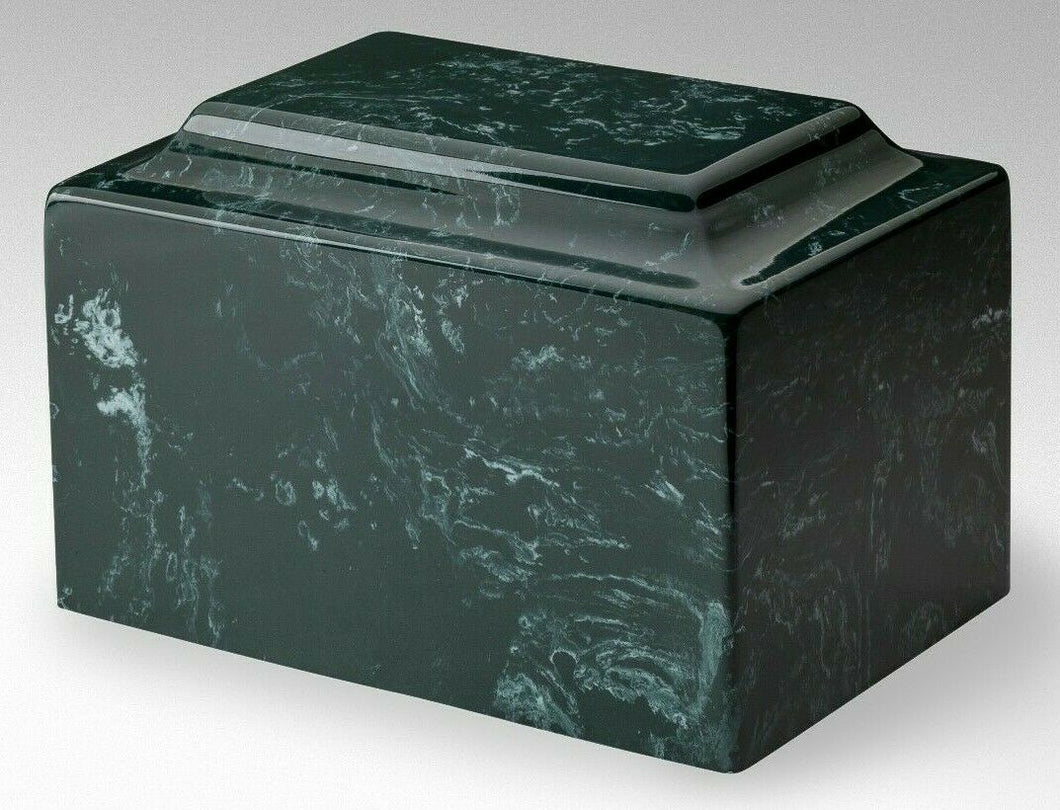 Classic Marble Evergreen Adult 210 Cubic Inches Cremation Urn, TSA Approved