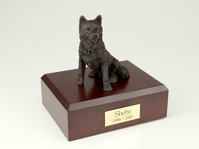 Husky, Bronze Stand Pet Cremation Urn Available in 3 Different Colors & 4 Sizes