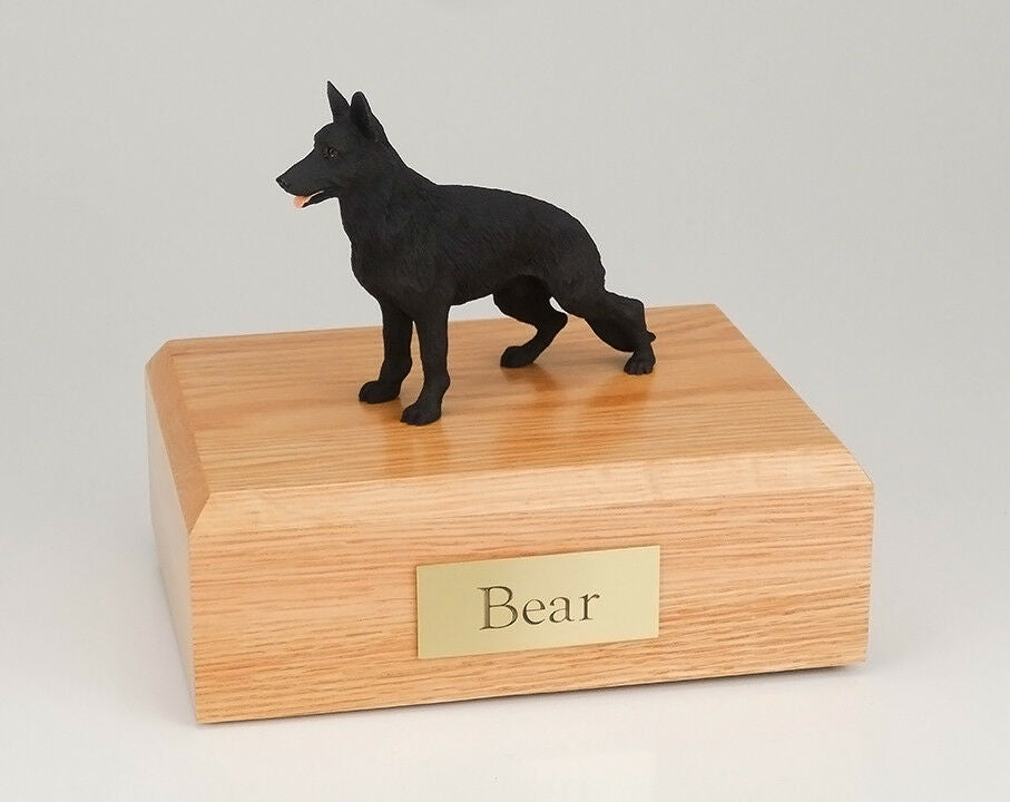 German Shepherd Black Pet Funeral Cremation Urn Avail in 3 Diff Colors & 4 Sizes