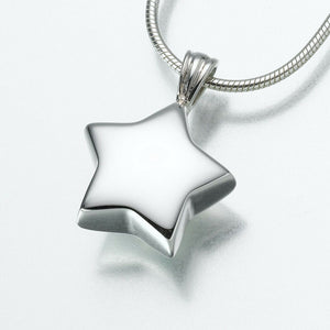 Sterling Silver Star Memorial Jewelry Pendant Funeral Cremation Urn