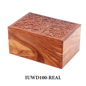 Large/Adult 200 Cubic Inch Rosewood Real Tree Funeral Cremation Urn for Ashes