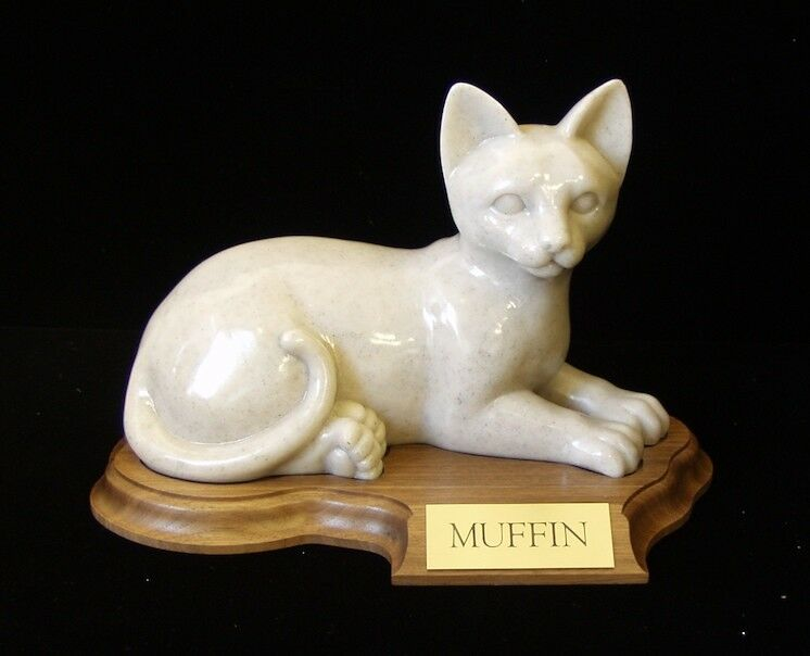 30 Cubic Inches Faithful Feline Urn in Laying Position for Ashes, with base