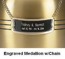 Load image into Gallery viewer, Personalized Polished Brass Name-Plate Medallion for Adult Size Cremation Urns