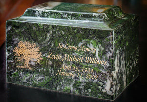 Classic Sea Holly Green Granite Adult Cremation Urn, 210 Cubic Inch TSA Approved