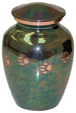 Load image into Gallery viewer, 45 Cubic Inches Teal Raku Color Brass Pawprint Pet Cremation Urn for Ashes