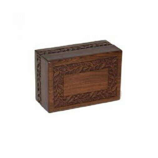 Small/Keepsake 85 Cubic Inch Econo Rosewood Funeral Cremation Urn w/Border