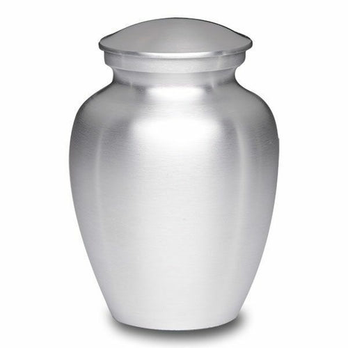 Large/Adult 70 Cubic Inch Silver Alloy Funeral Cremation Urn for Ashes