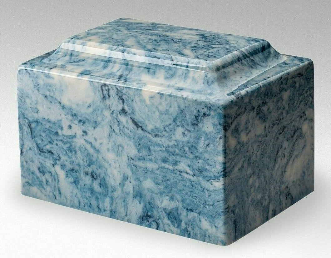 Classic Marble Blue Adult 210 Cubic Inches Funeral Cremation Urn, TSA Approved