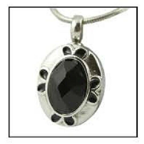 Oval Gem Stainless Steel Funeral Cremation Urn Jewelry Pendant w/Chain