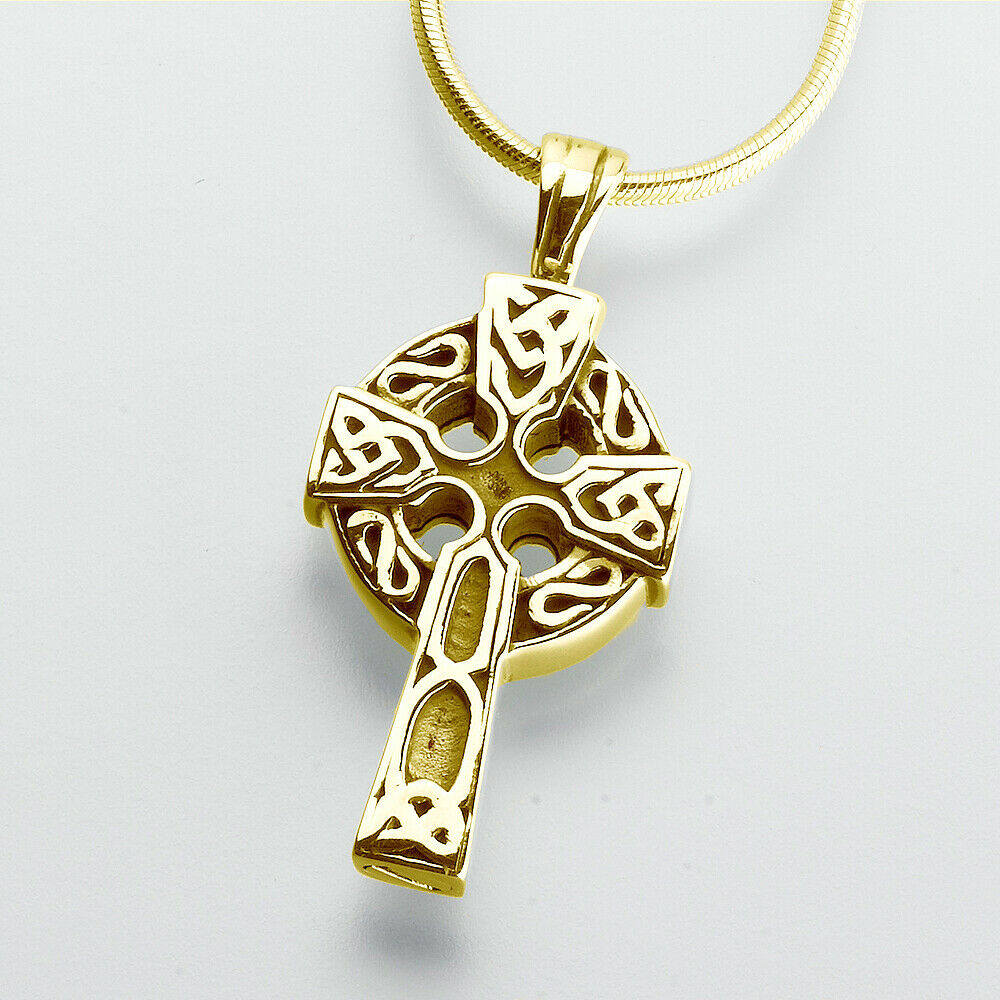 Gold Vermeil Celtic Cross Memorial Jewelry Pendant Funeral Cremation Urn