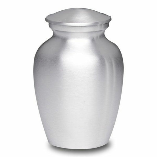 Large/Adult 40 Cubic Inch Silver Alloy Funeral Cremation Urn for Ashes