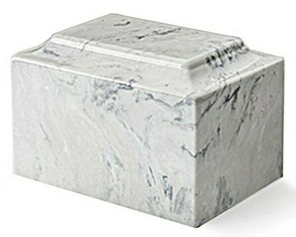 Classic Marble Carrera 100 Cubic Inches Funeral Cremation Urn Ashes TSA Approved