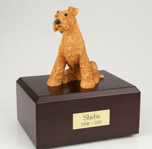 Load image into Gallery viewer, Airedale Terrier Pet Funeral Cremation Urn Avail in 3 Different Colors & 4 Sizes