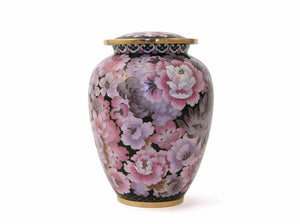 Small/Keepsake Floral Blush Cloisonne Funeral Cremation Urn, 50 Cubic Inches