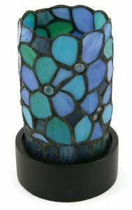 Small/Keepsake Blue Stained Glass Light of Remembrance Cremation Urn w/LED