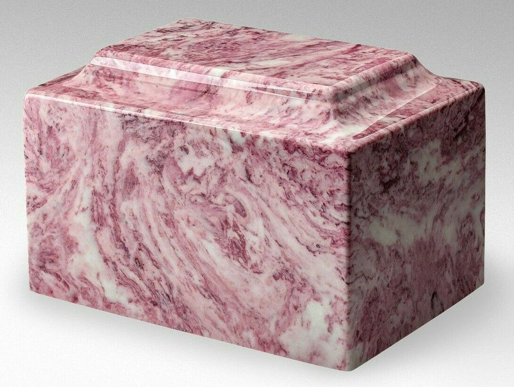 Classic Marble Pink & White Oversized 325 Cubic Inch Cremation Urn, TSA Approved