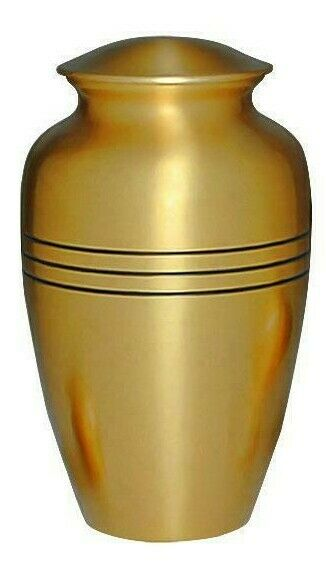 Large/Adult 200 Cubic Inch Classic Gold Brass Funeral Cremation Urn for Ashes