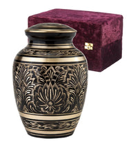 Load image into Gallery viewer, Black and Gold Color, Brass Funeral Cremation Urn Keepsake w. Velvet Heart Box