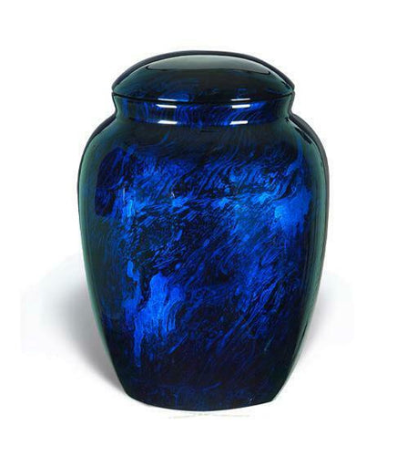Large/Adult 210 Cubic Inch Fiber Glass Funeral Cremation Urn for Ashes - Blue