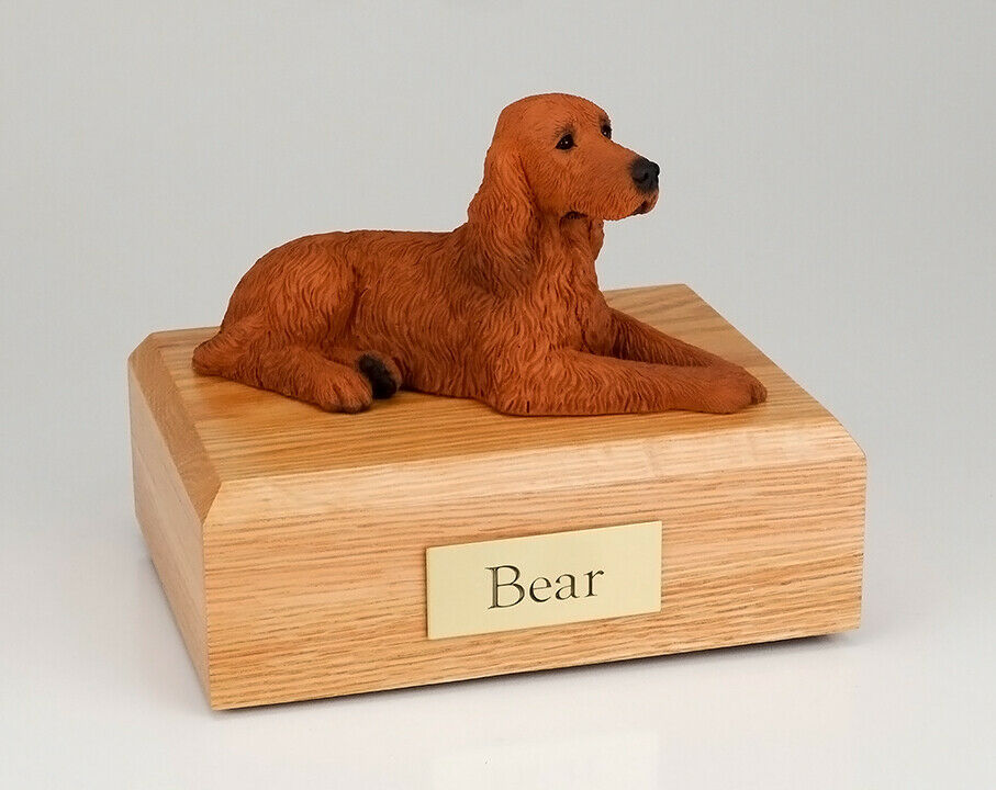 Irish Setter Stand Pet Cremation Urn, Available in 3 Different Colors & 4 Sizes