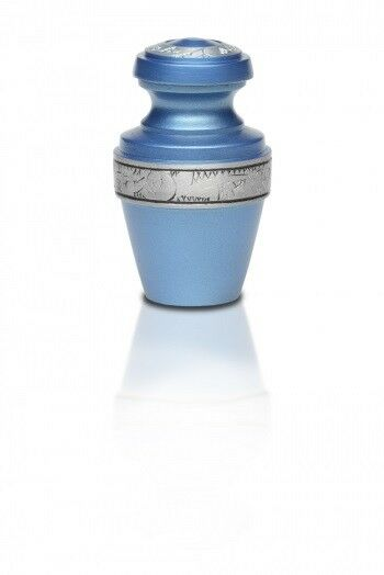 Small/Keepsake 3 Cubic Inch Blue Alloy Funeral Cremation Urn for Ashes w/Band