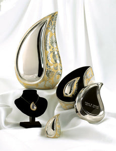 Set of 4 Silver & Gold Teardrop Cremation Urns - Adult, Pendant & 2 Keepsakes