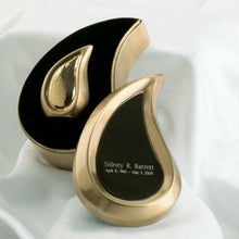 Load image into Gallery viewer, Small/Keepsake 3 Cubic Inches Tear Drop Brass Cremation Urn with Engraved Case