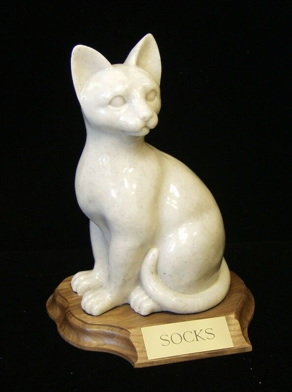30 Cubic Inches Faithful Feline Urn in Sitting Position for Ashes, with base