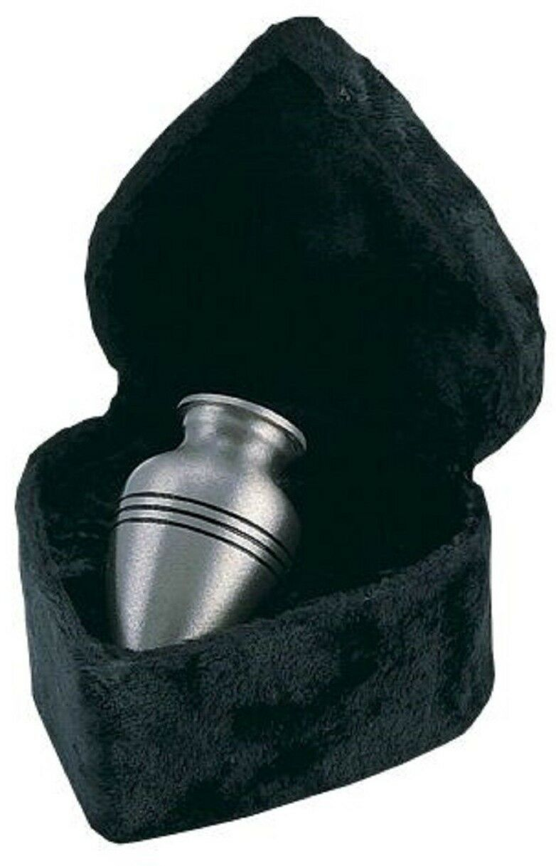 Silver/Pewter Color Brass Keepsake Cremation Urn W. Velvet Heart Box,3 Cubic In.