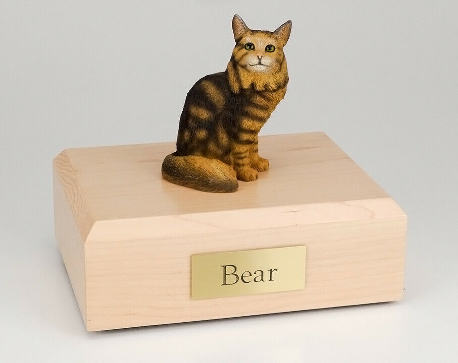 Maine Coon Brown Tabby Cat Figurine Pet Cremation Urn Avail in 3 Colors/ 4 Sizes