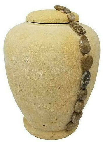 Large/Adult 220 Cubic In. Biodegradable Natural Sand Ocean Pebbles Cremation Urn