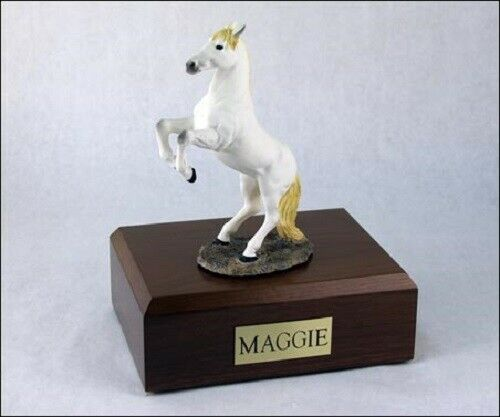 Horse White Figurine Funeral Cremation Urn Available in 3 Diff Colors & 4 Sizes
