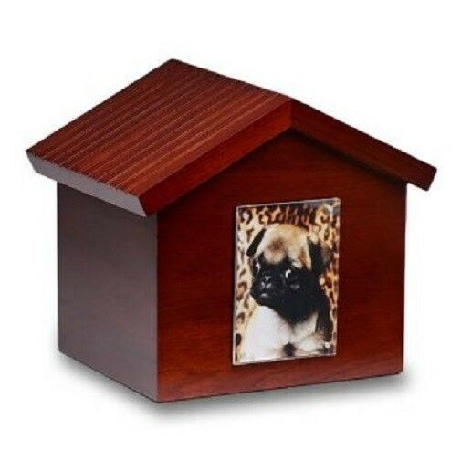 Large/Adult 100 Cubic Inch Dog House Photo Frame Wood Pet Funeral Cremation Urn