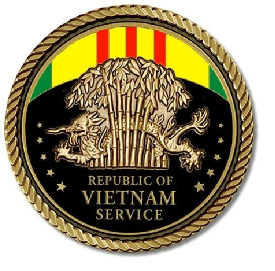 Vietnam Service Medallion for Box Cremation Urn/Flag Case - 4 Inch Diameter