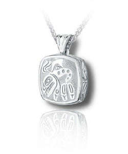 Sterling Silver Haida Orca Cushion Funeral Cremation Urn Pendant w/Chain